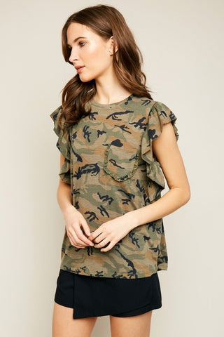 Camo Ruffle Top Women's