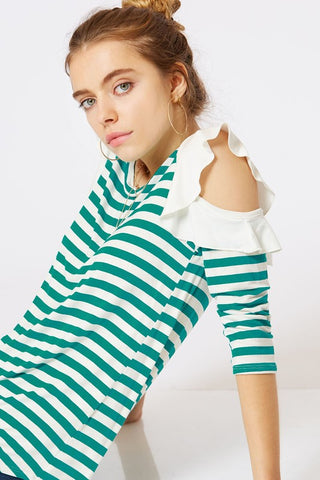 How Sweet it is Open shoulder/striped top