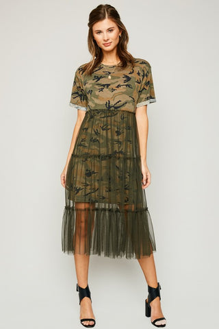 The Hunt Camo Dress with Mesh