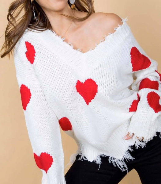 Distressed Heart print sweater
