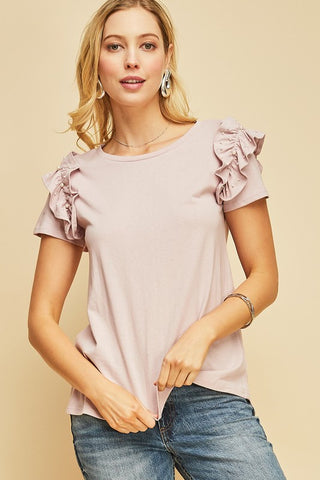 Cassie short sleeve top with ruffle sleeve