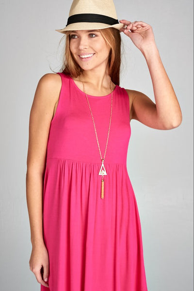 Jackie Solid Sleeveless Swing Dress