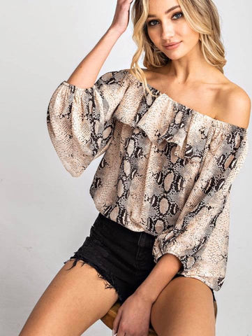 Off the  Market Snakeskin top
