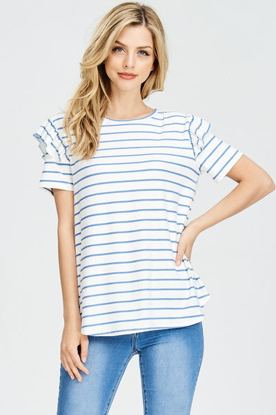 My Love Ruffle sleeved ivory top with denim stripe