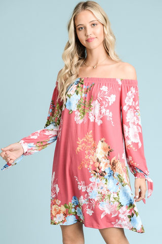 Cali Coral off shoulder floral dress