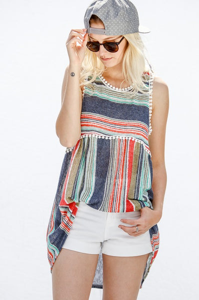 Cry Pretty Sleeveless top with navy stripes