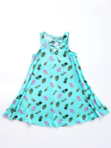 Aloha Mint Pineapple Little Girl's Dress