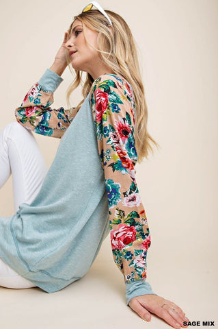 Sage Mix Floral sleeve top