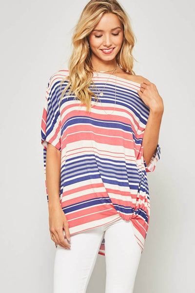 Natural Dolman one shoulder striped top