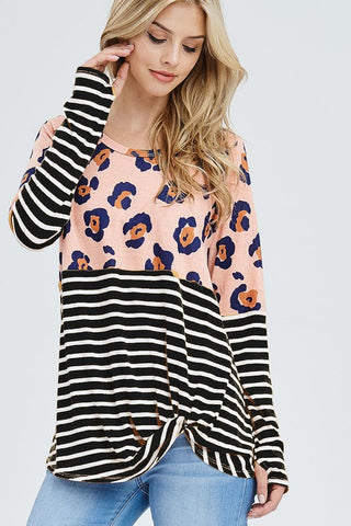Leopard print block top with stripes