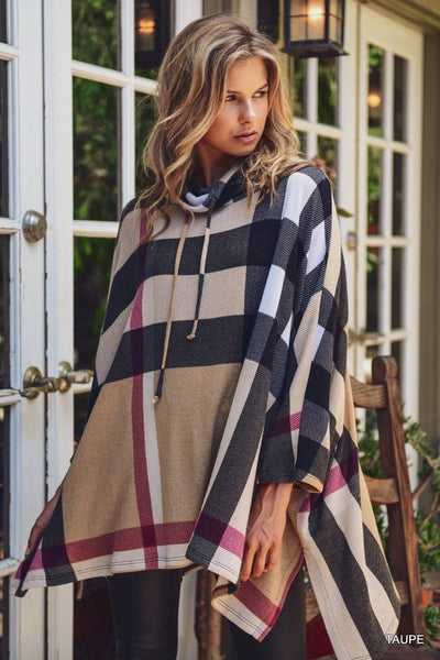 Checkered poncho with cowl neck