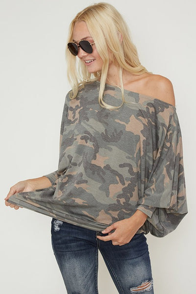 Camo long sleeve off shoulder top