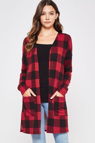 Buffalo Plaid Red/Black Cardigan