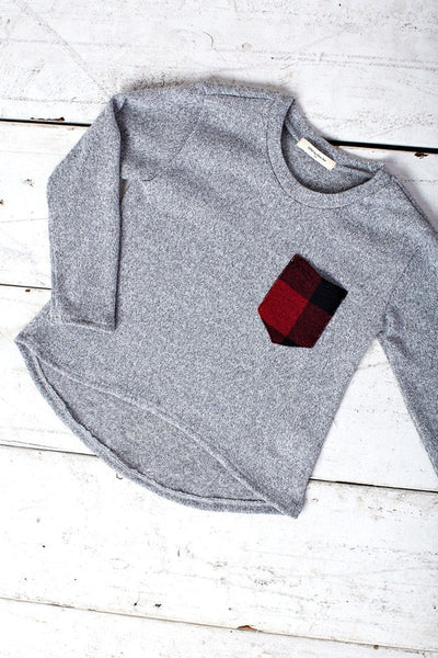 Grey long sleeve kids top with plaid pocket