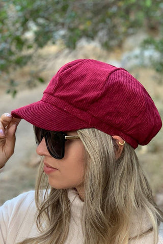 Burgundy Newsboy Hat