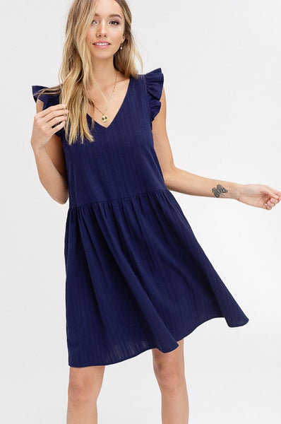Ruffle me Over Navy Dress