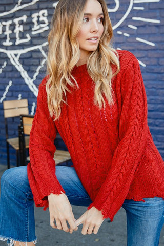 Pride Red Cable Knit Sweater