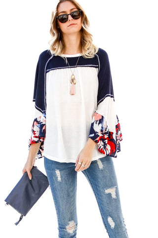 Daisy Top with Floral sleeve