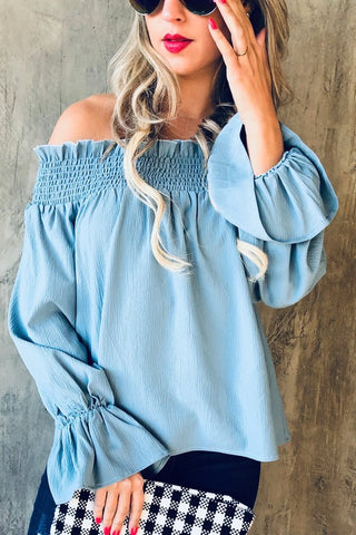 You Say Blue Off Shoulder top