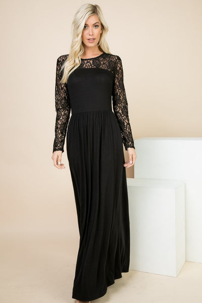 All the Love Black Maxi Dress
