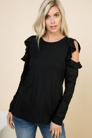 Solid long sleeeve top with open shoulder PRE-SALE