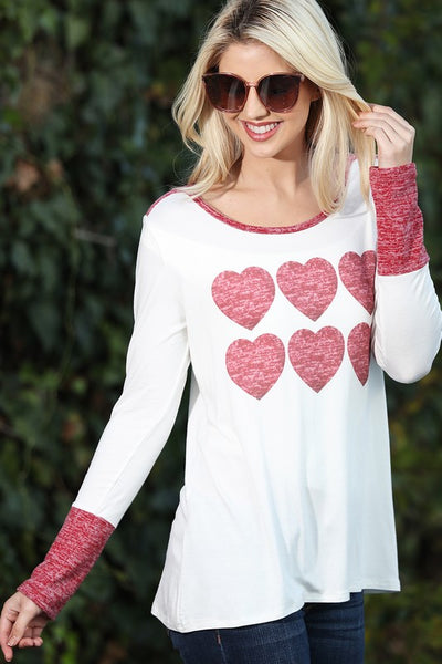 Red Hearts on Ivory Long Sleeve Top