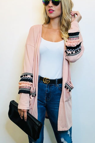 Ripple or Not Pink Cardigan