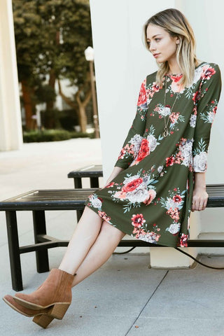 Come Over Olive Floral Dress