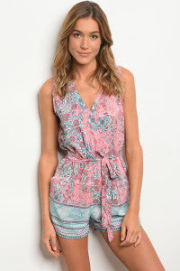 Cassidy Romper mint/coral