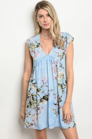 Leave the Night on Blue Floral Dress