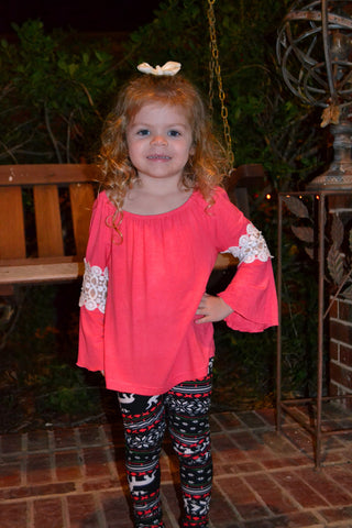 Girl's Tops in Coral or Red with lace sleeve