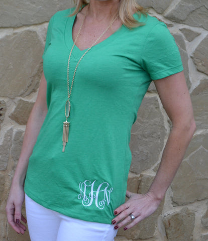 Green Eyes V Neck Cotton Tee