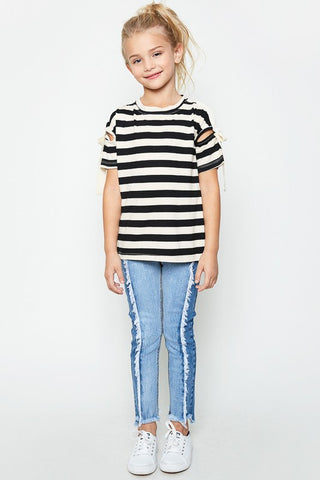 Black/Ivory kids striped top with shoulder open