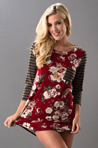 Belong Floral Mocha Red Top