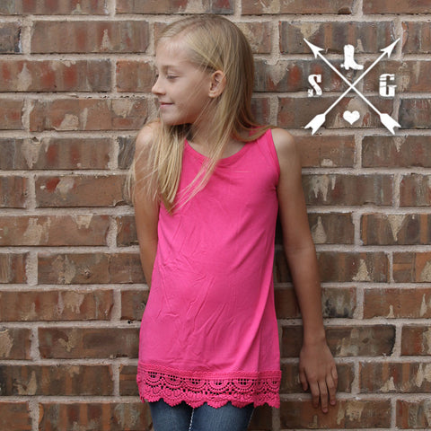 Kayleigh Pink tank with crochet lace