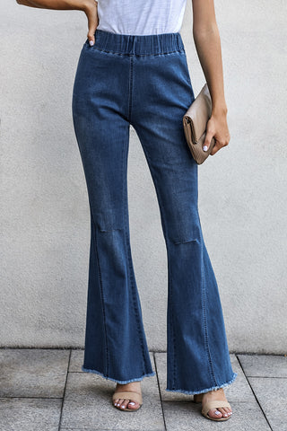 Idabell Blues Distressed Bell Bottom Denim Pants