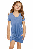 Little Girls' V Neck T-shirt Mini Dress with Twist Hem