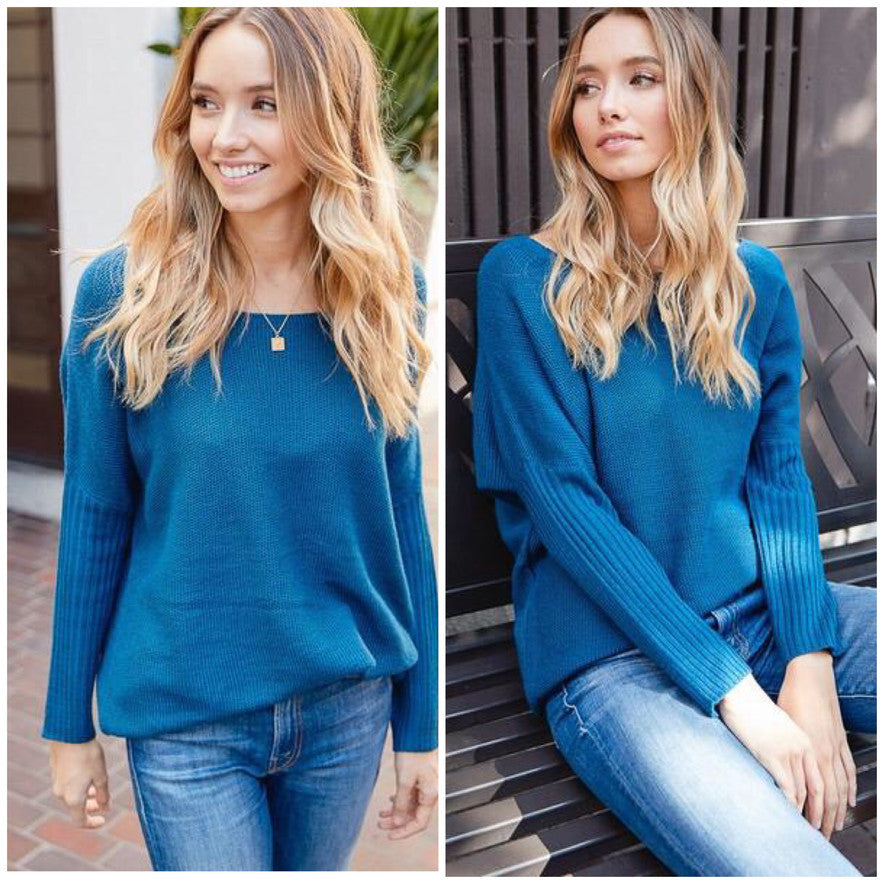 This blue sweater is a must have!
