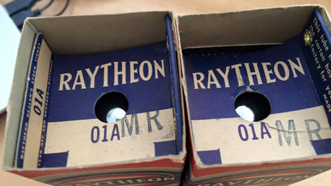 Raytheon 01A  2 NIB 01A Tube Identifical Code Dates New/Nos in box Minty - Wayne James Limited - 1