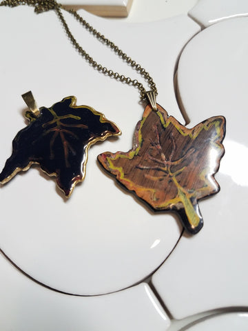 Autumn Leaf Gold Leaf Necklace on Gold Plate - Wayne James Limited - 1