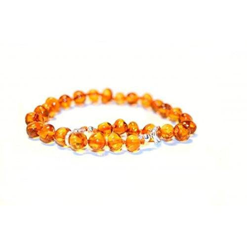 (10 in) Certified Baltic Amber Adjustable Bracelet or Anklet - Silver Lobster Clasp - Honey -  - The Art of Cure