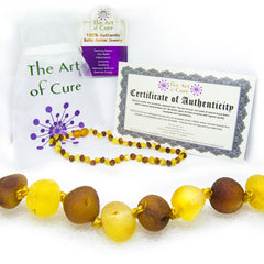 (12.5in) Certified Baltic Amber Teething Necklace for Baby (Raw Honey/Lemon)