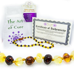 (12.5in) Certified Baltic Amber Teething Necklace for Baby (MultiColor) - Anti-inflammatory