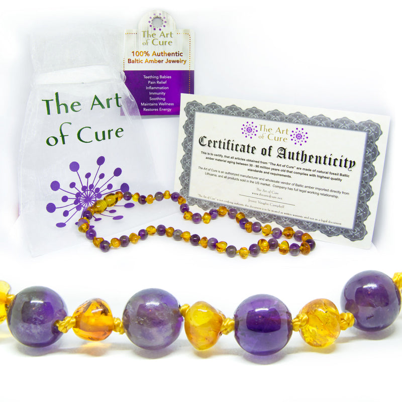 FLASH SALE - The Original Semi-Precious & Certified Baltic Amber Teething Necklace- Amethyst/Honey
