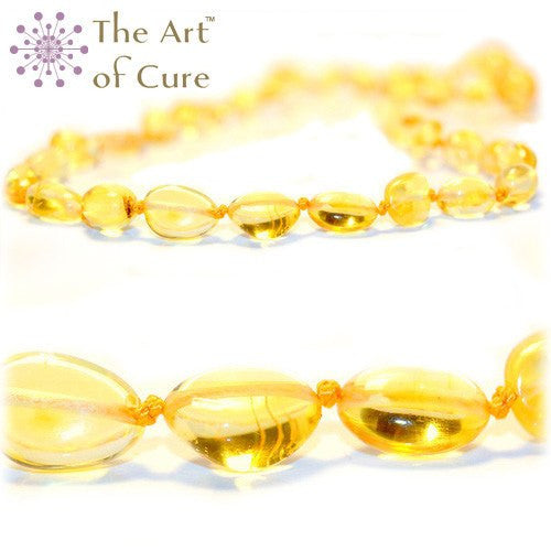 (12.5 in) The Art of Cure Teething Necklace - Lemon Bean -  - The Art of Cure