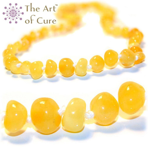 (12.5in) Certified Baltic Amber Teething Necklace for Baby (Butter) - Anti-inflammatory -  - The Art of Cure