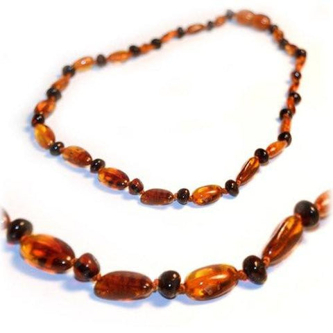 (12.5in) Certified Baltic Amber Teething Necklace for Baby - Cognac Bean/Round Cherry - Anti-Inflammatory