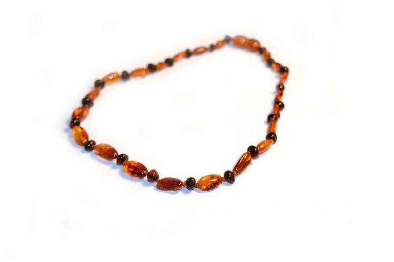 (12.5in) Certified Baltic Amber Teething Necklace for Baby - Cognac Bean/Round Cherry - Anti-Inflammatory -  - The Art of Cure
