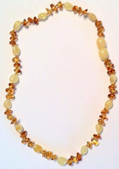 (12.5in) Certified Baltic Amber Teething Necklace for Baby - Cognac Chip/Yellow Bean - Anti-Inflammatory -  - The Art of Cure