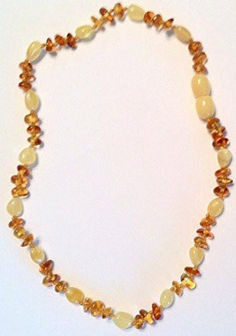 (12.5in) Certified Baltic Amber Teething Necklace for Baby - Cognac Chip/Yellow Bean - Anti-Inflammatory